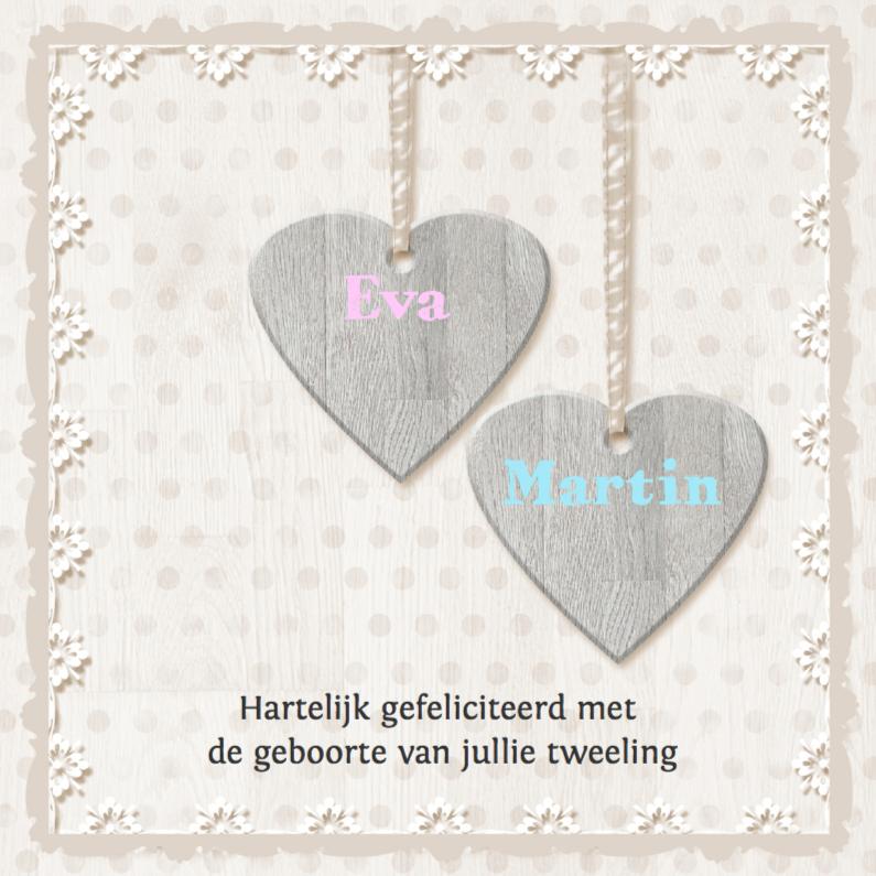Felicitatiekaarten - Harten - tweeling