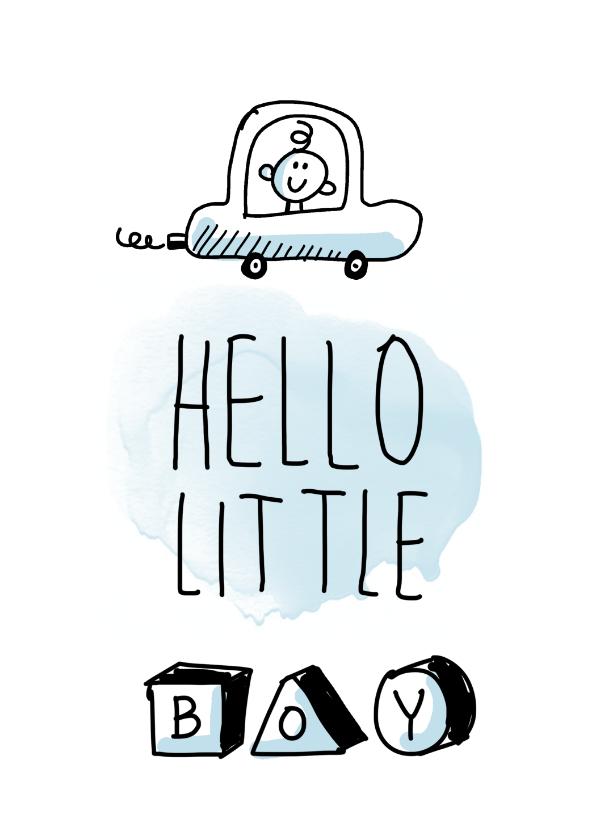 Felicitatiekaarten - Hello little boy met jongen in een auto en speelgoedblokken