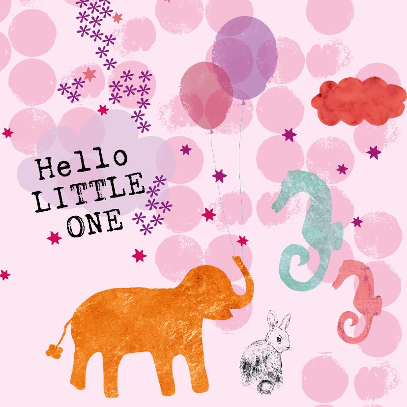 Felicitatiekaarten - Hello little one! Lief geboorte kaartje