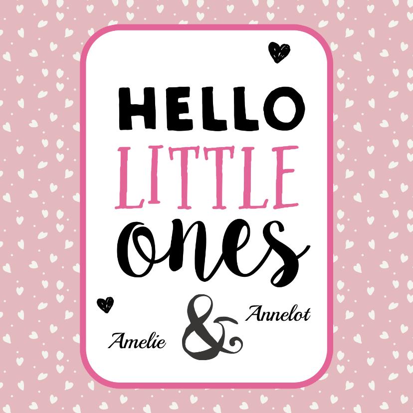 Felicitatiekaarten - Hello little ones roze