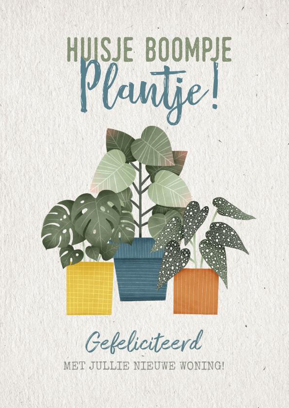 Felicitatiekaarten - Hippe felicitatiekaart huisje boomje plantje met plantjes