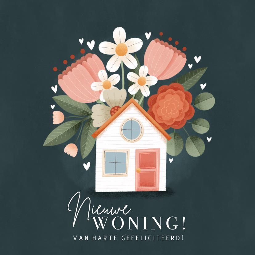 Felicitatiekaarten - Hippe felicitatiekaart Nieuwe woning, huisje met bloemen