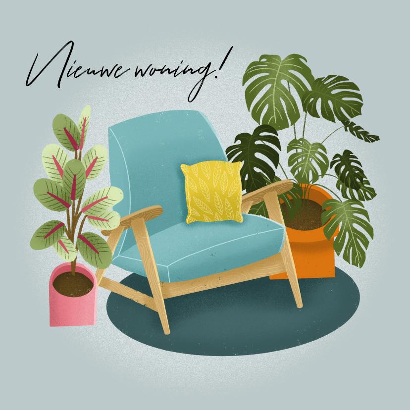 Felicitatiekaarten - Hippe felicitatiekaart nieuwe woning met planten en stoel