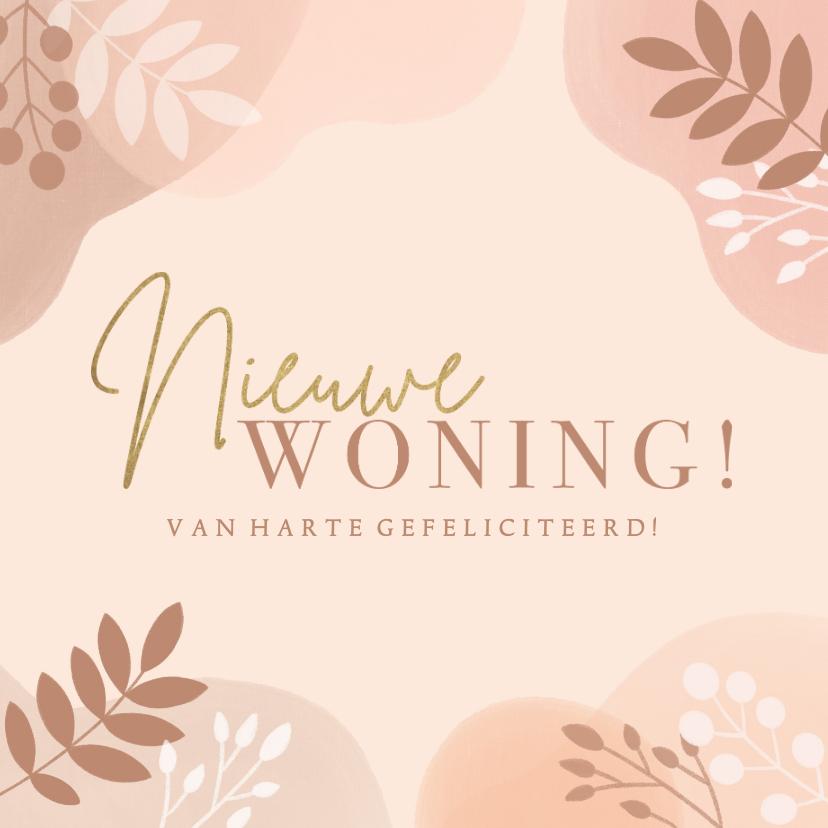 Felicitatiekaarten - Hippe felicitatiekaart nieuwe woning neutraal met plantjes
