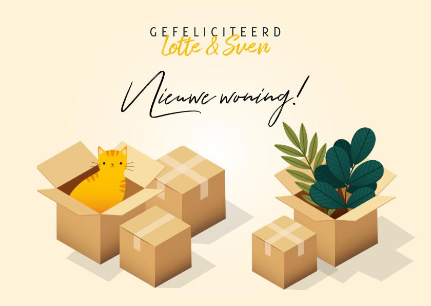 Felicitatiekaarten - Hippe felicitatiekaart 'Nieuwe Woning' verhuisdozen en kat