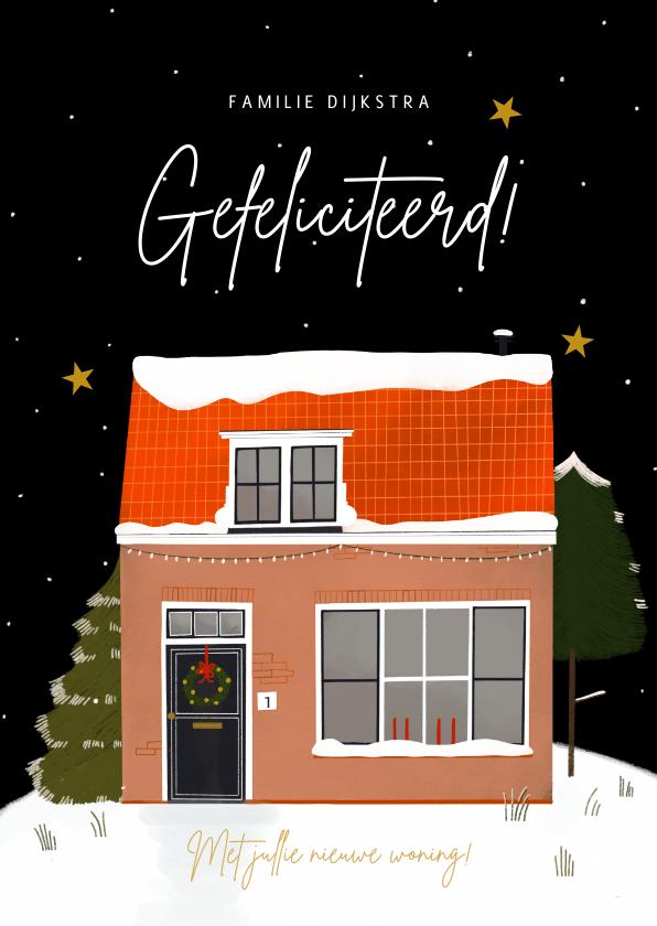 Felicitatiekaarten - Hippe felicitatiekaart nieuwe woning winter en sterren