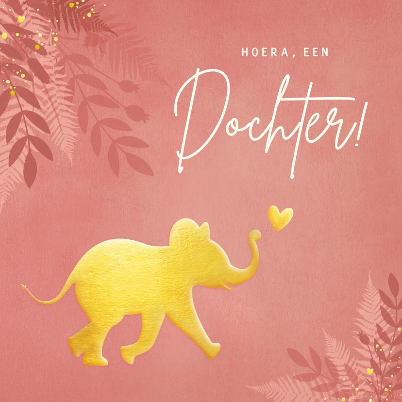 Felicitatiekaarten - Hippe jungle felicitatiekaart geboorte met gouden olifant