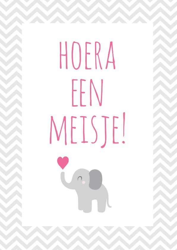 Felicitatiekaarten - Hoera een meisje, olifantje