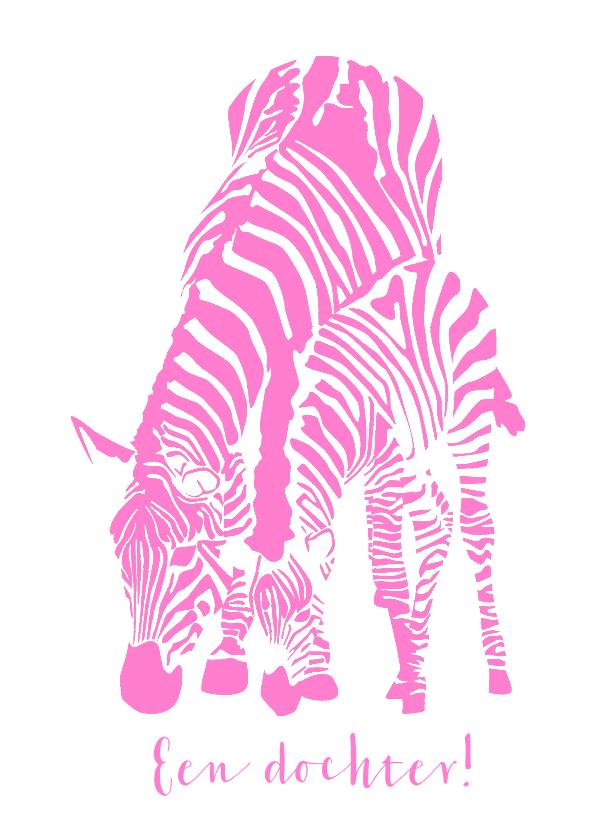 Felicitatiekaarten - Hoera een meisje - zebra's