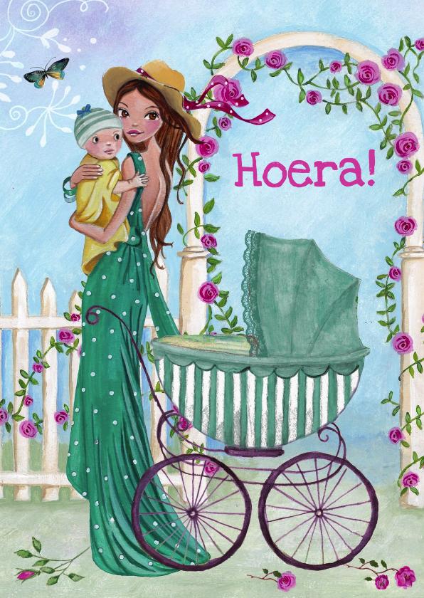 Felicitatiekaarten - Hoera geboren wieg MAMA baby Illustratie