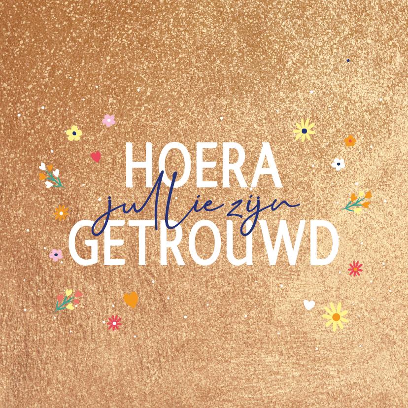 Felicitatiekaarten - Hoera getrouwd - golden - felicitatiekaart