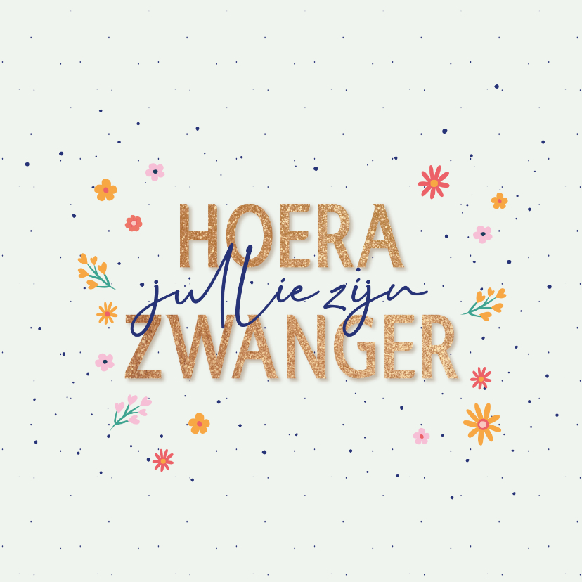 Felicitatiekaarten - Hoera zwanger - dots and flowers - felicitatiekaart