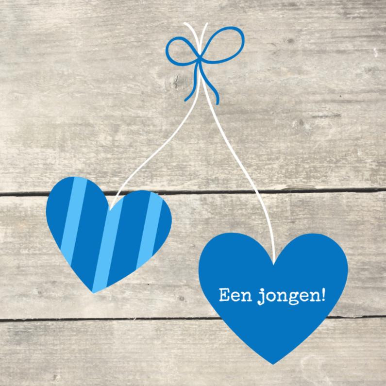 Felicitatiekaarten - Houtprint met hartjes, blauw