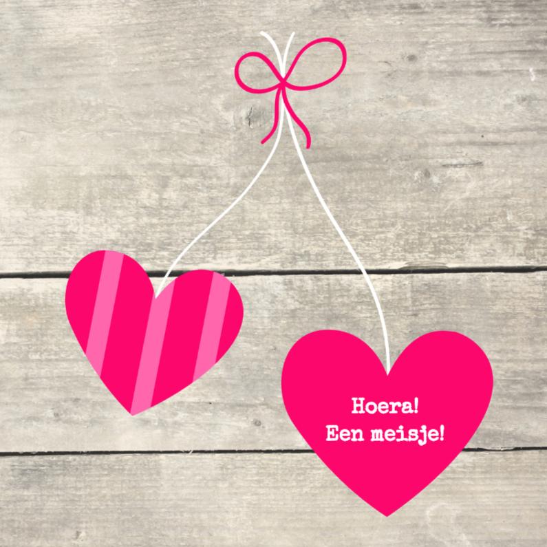 Felicitatiekaarten - Houtprint met hartjes, roze