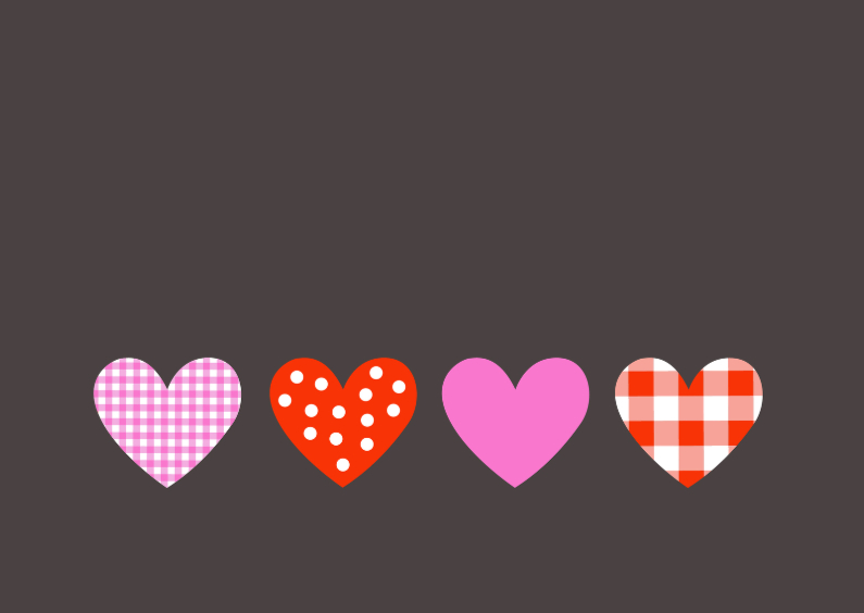 Felicitatiekaarten - Huwelijk, 4 harten