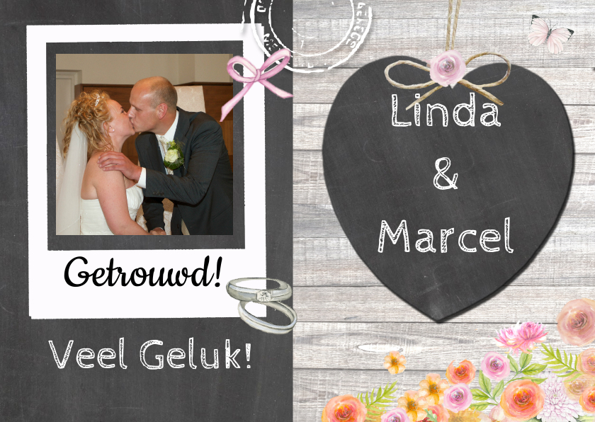 Felicitatiekaarten - huwelijk chalkboard ring