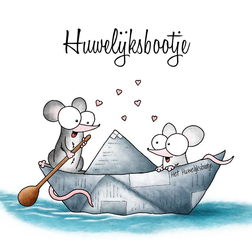 Felicitatiekaarten - Huwelijksfelicitatie - twee muisjes in het huwelijksbootje