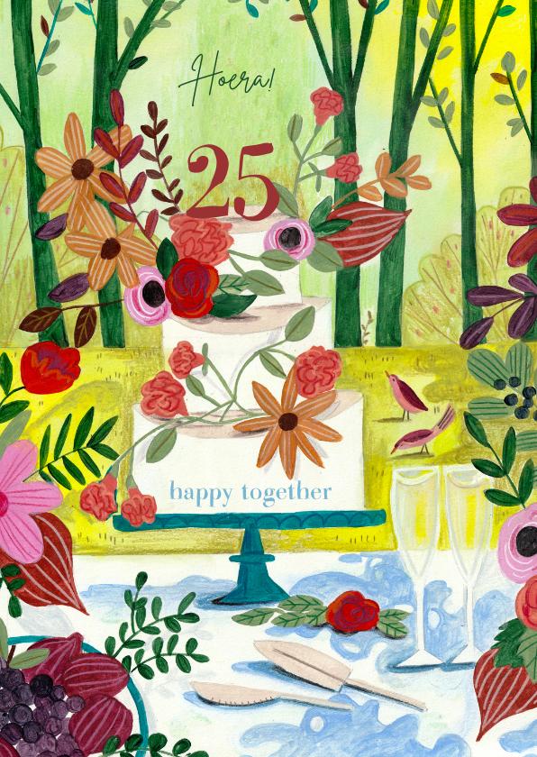Felicitatiekaarten - Huwelijksjubileum taart in het bos