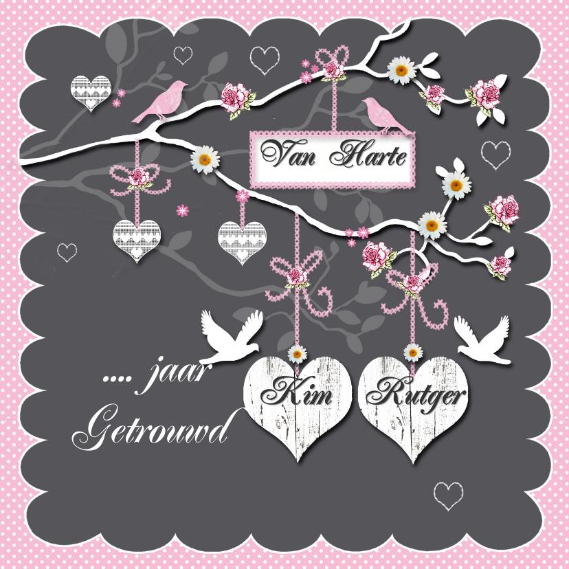 Felicitatiekaarten - huwelijksjubileum takje met harten