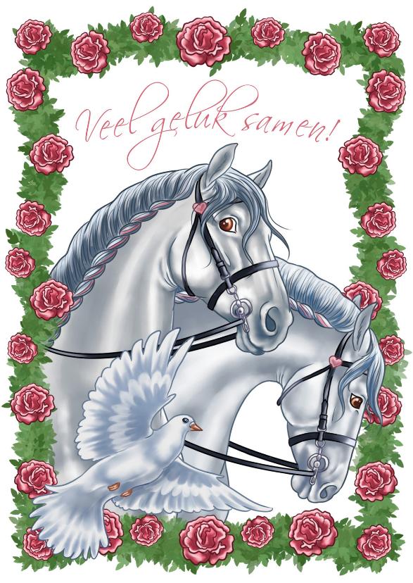 Felicitatiekaarten - Huwelijkskaart met paarden en duif