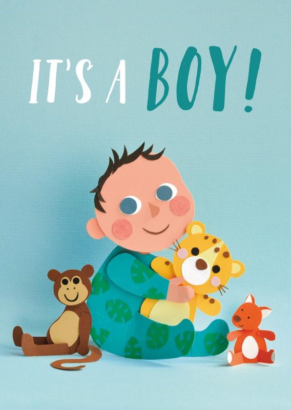 Felicitatiekaarten - It's a boy! baby met knuffels