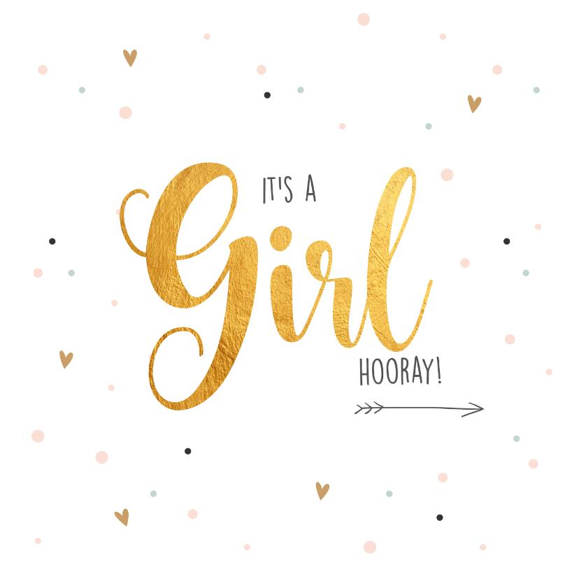 Felicitatiekaarten - It's a girl-gold felicitatie kaart geboorte
