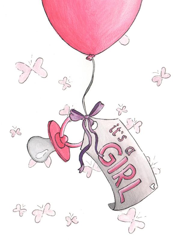Felicitatiekaarten - Its a girl Illu-Straver