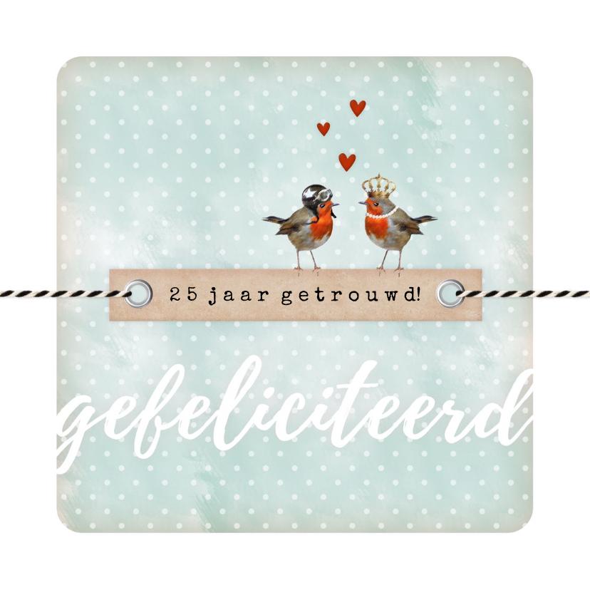 Felicitatiekaarten - ... jaar getrouwd vogeltjes