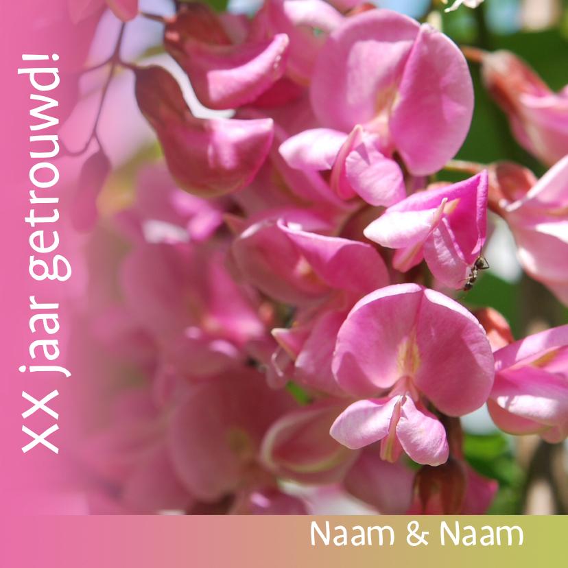 Felicitatiekaarten - Jubileumkaart met roze bloemen xx jaar