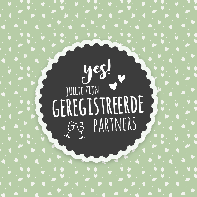 Felicitatiekaarten - jullie zijn geregistreerde partners (retro)