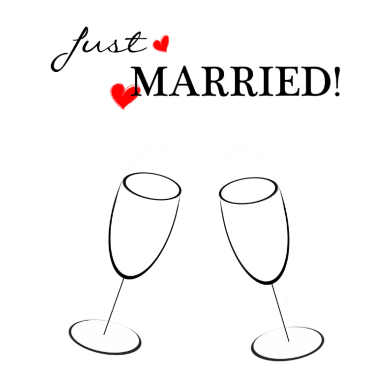 Felicitatiekaarten - Just married black white red