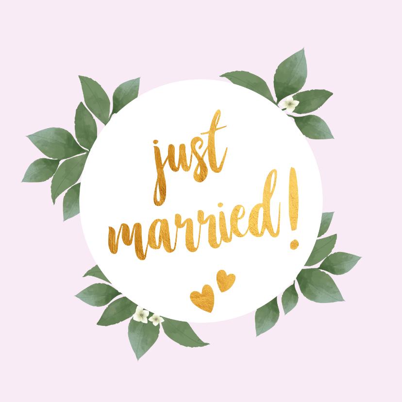 Felicitatiekaarten - Just married - botanische huwelijkskaart