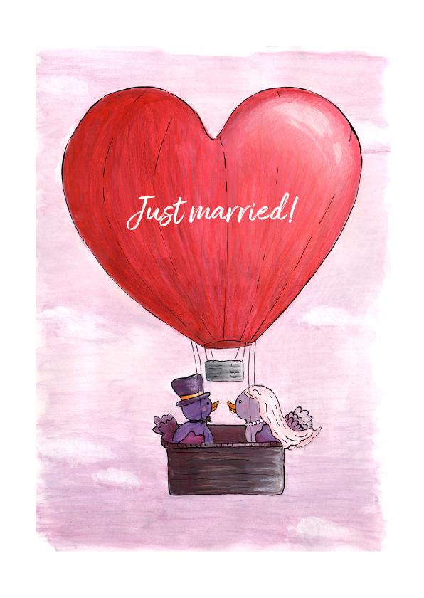 Felicitatiekaarten - Just Married vogeltjes