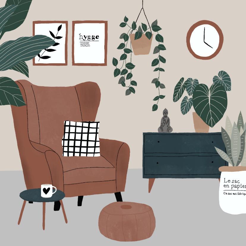 Felicitatiekaarten - Kaart met botanische illustratie 'Nieuwe woning'
