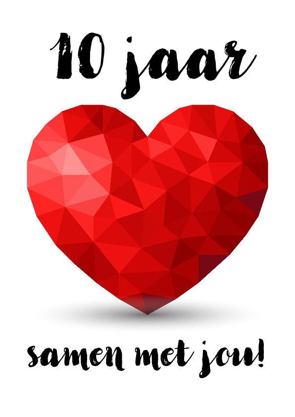Felicitatiekaarten - Kaart voor jubileum zoveel jaar samen met rood low poly hart