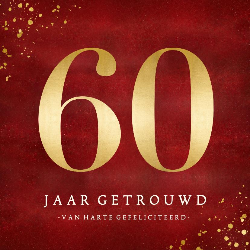 Felicitatiekaarten - Klassieke felicitatiekaart huwelijk diamant 60 jaar getrouwd