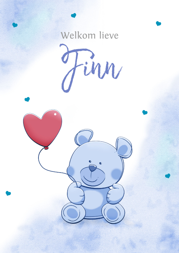 Felicitatiekaarten - Leuk felicitatiekaartje met hartjes en een grappig beertje
