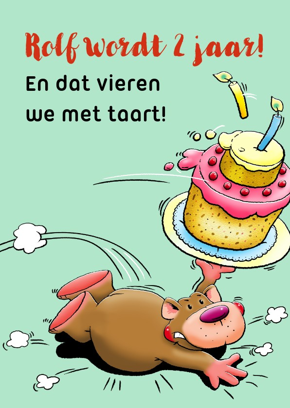 Felicitatiekaarten - Leuke felicitatie kind van 2 jaar met beertje en taart