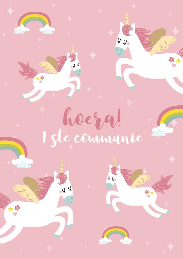Felicitatiekaarten - Leuke felicitatie voor een eerste communie met eenhoorns