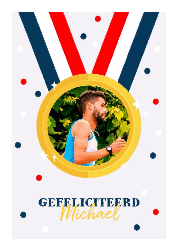 Felicitatiekaarten - Leuke felicitatiekaart medaille, Nederlandse vlag en foto