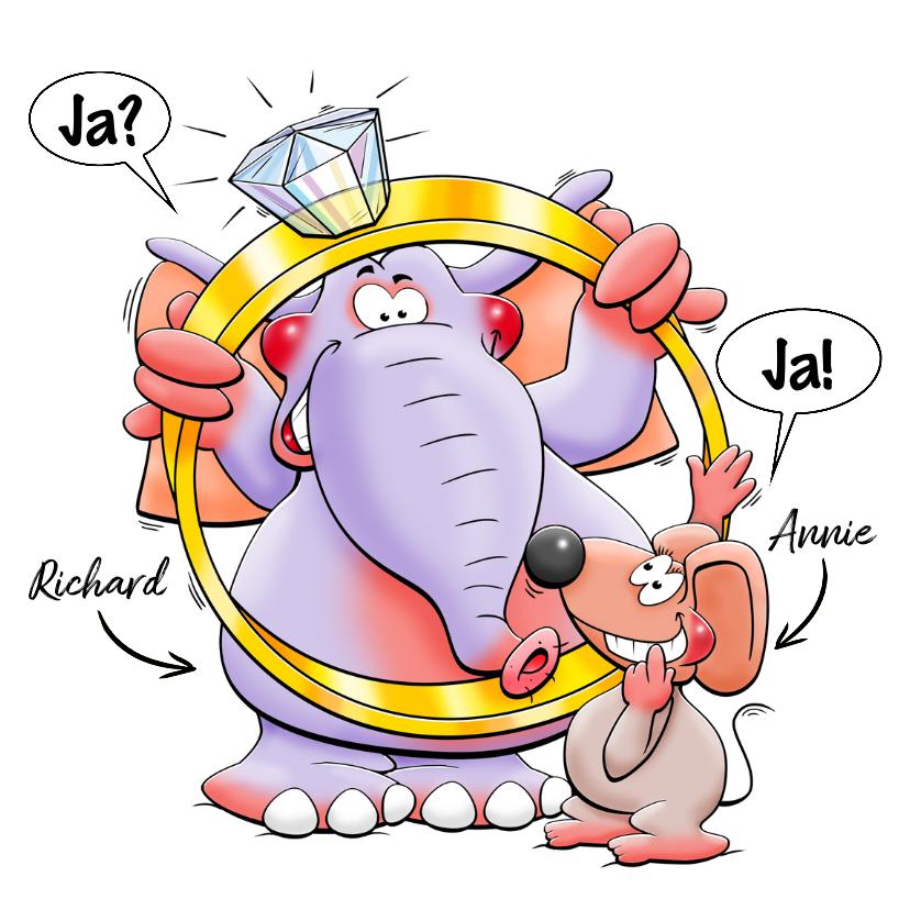 Felicitatiekaarten - Leuke felicitatiekaart met dieren en grote ring