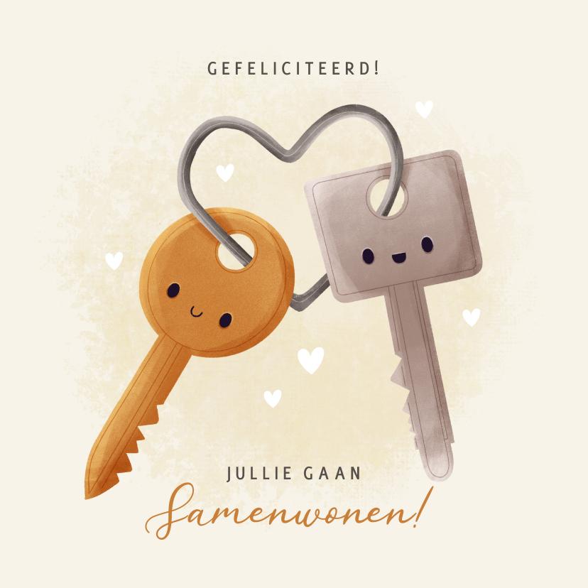 Felicitatiekaarten - Leuke felicitatiekaart samenwonen met sleutels en hartjes