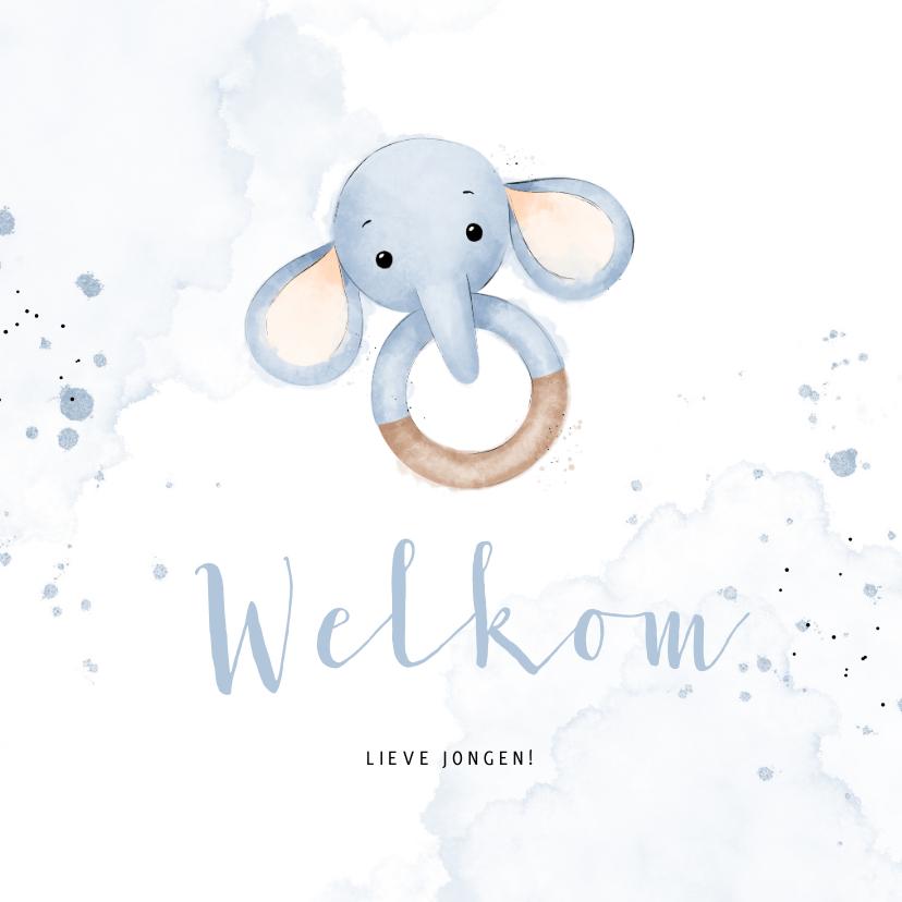 Felicitatiekaarten - Lief felicitatiekaartje bijtring met blauw olifantje