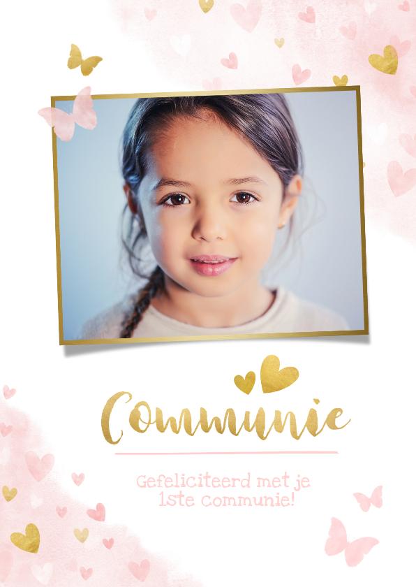 Felicitatiekaarten - Lief felicitatiekaartje communie roze waterverf met hartjes