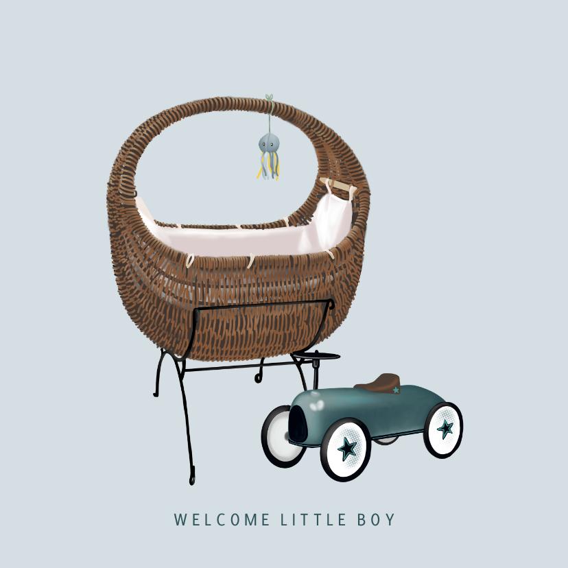 Felicitatiekaarten - Lief felicitatiekaartje voor de geboorte een jongen met wieg