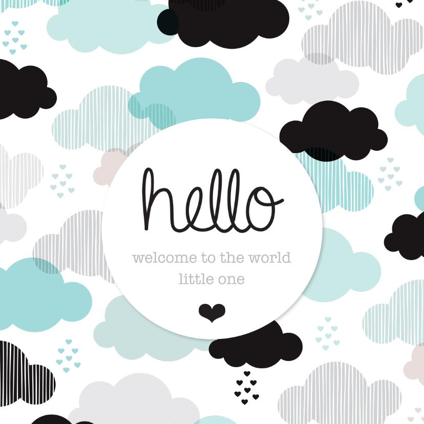 Felicitatiekaarten - Lief wolk illustratie geboorte