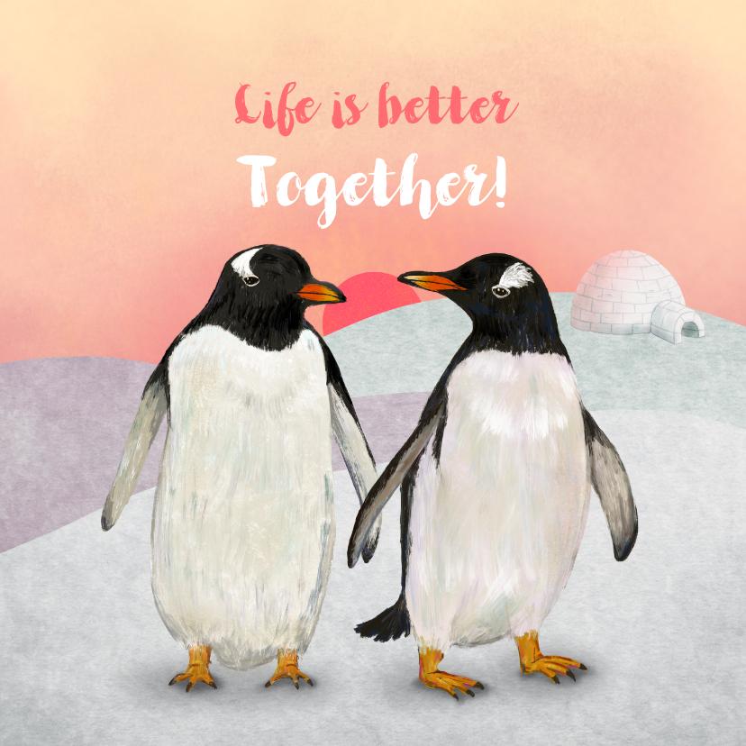 Felicitatiekaarten - Liefdeskoppel Pinguins
