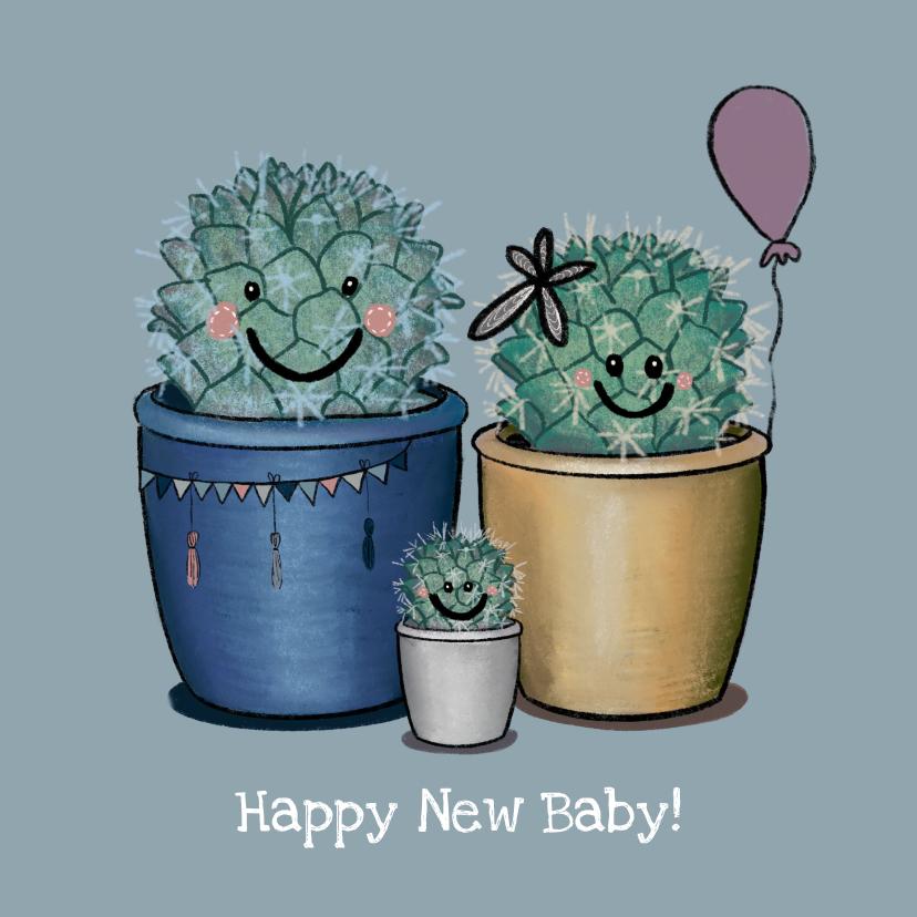 Felicitatiekaarten - Lieve felicitatiekaart geboorte jongen illustratie cactus