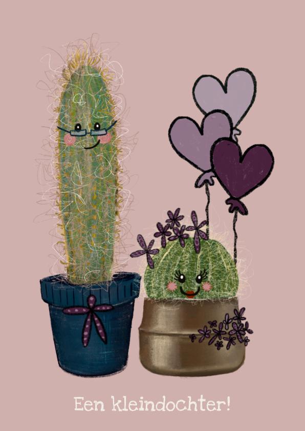 Felicitatiekaarten - Lieve felicitatiekaart geboorte kleindochter met cactussen