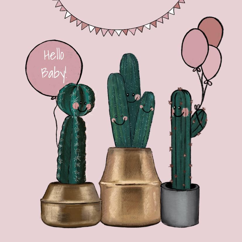 Felicitatiekaarten - Lieve felicitatiekaart geboorte meisje met cactussen